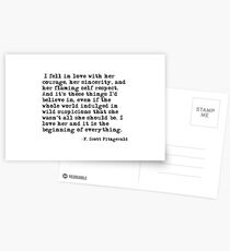 I fell in love with her courage - F Scott Fitzgerald Postcards