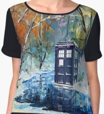 Blue Phone booth with winter views Chiffon Top