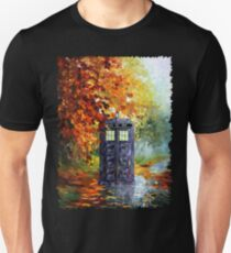 Blue Phone booth with autumn views Unisex T-Shirt