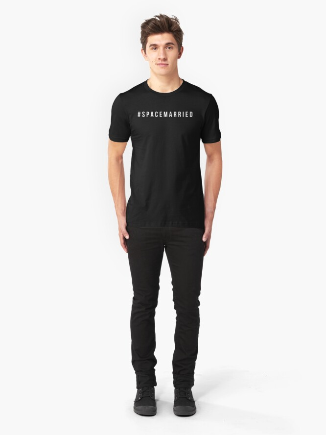 Alternate view of #spacemarried (white text) Slim Fit T-Shirt