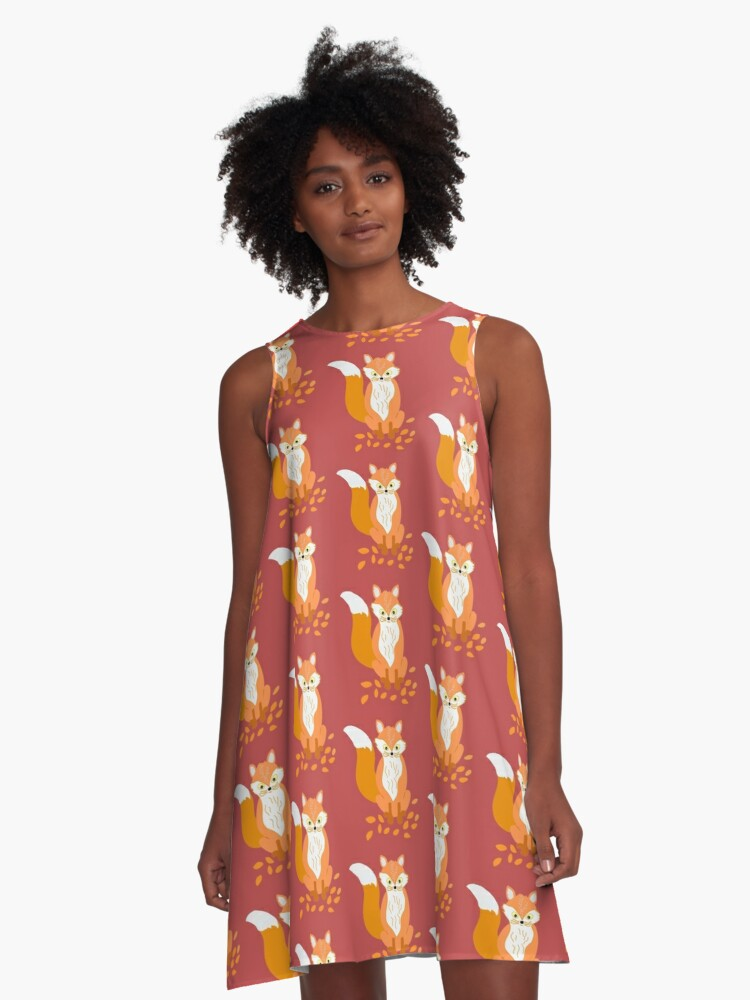 Fox in the leaves A-Line Dress Front