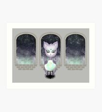 Mystic Miku | Crystal Ball & Zodiac | Light Grey Art Print