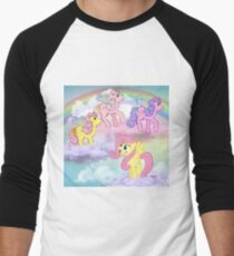 my little pony g4 fluttershy meets g1 flutter ponies Men's Baseball ¾ T-Shirt