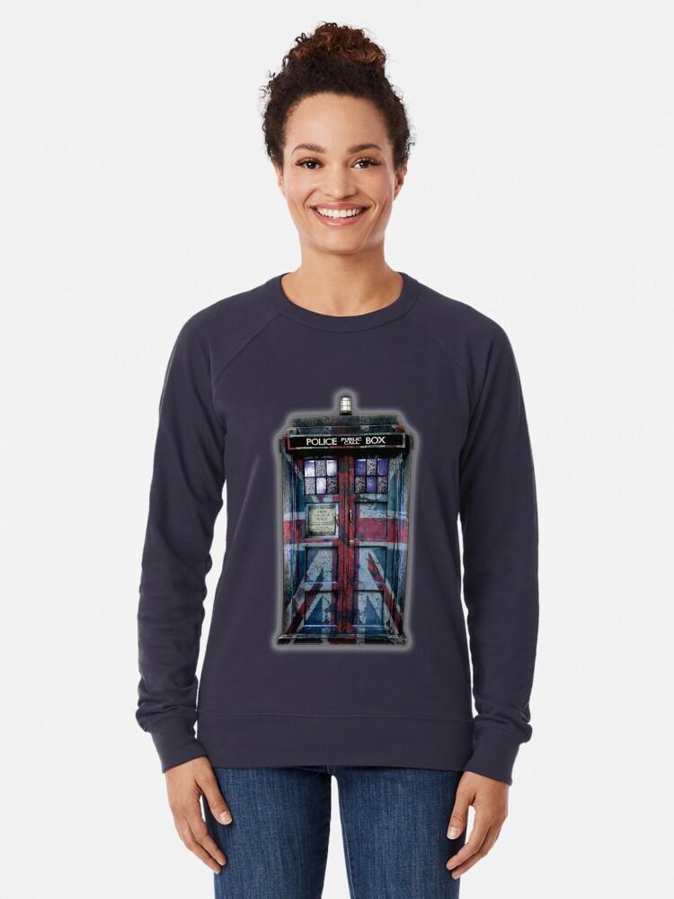 Alternative Ansicht von Union Jack Öffentliche Telefonzelle Leichter Pullover