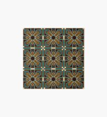 Art Deco Floral Tiles in Brown and Teal Art Board