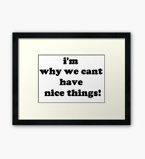 i'm why we cant have nice things Framed Print