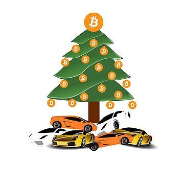 Bitcoin Lambo Xmas T-Shirt - Crypto Shirt - Bitcoin Lambo Xmas Shirt by NativOrganics