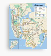 New York City - NYC - USA - Subway Map HD - High-Quality Canvas Print