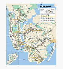 New York City - NYC - USA - Subway Map HD - High-Quality Photographic Print