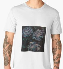 Three blue roses on square background Men's Premium T-Shirt