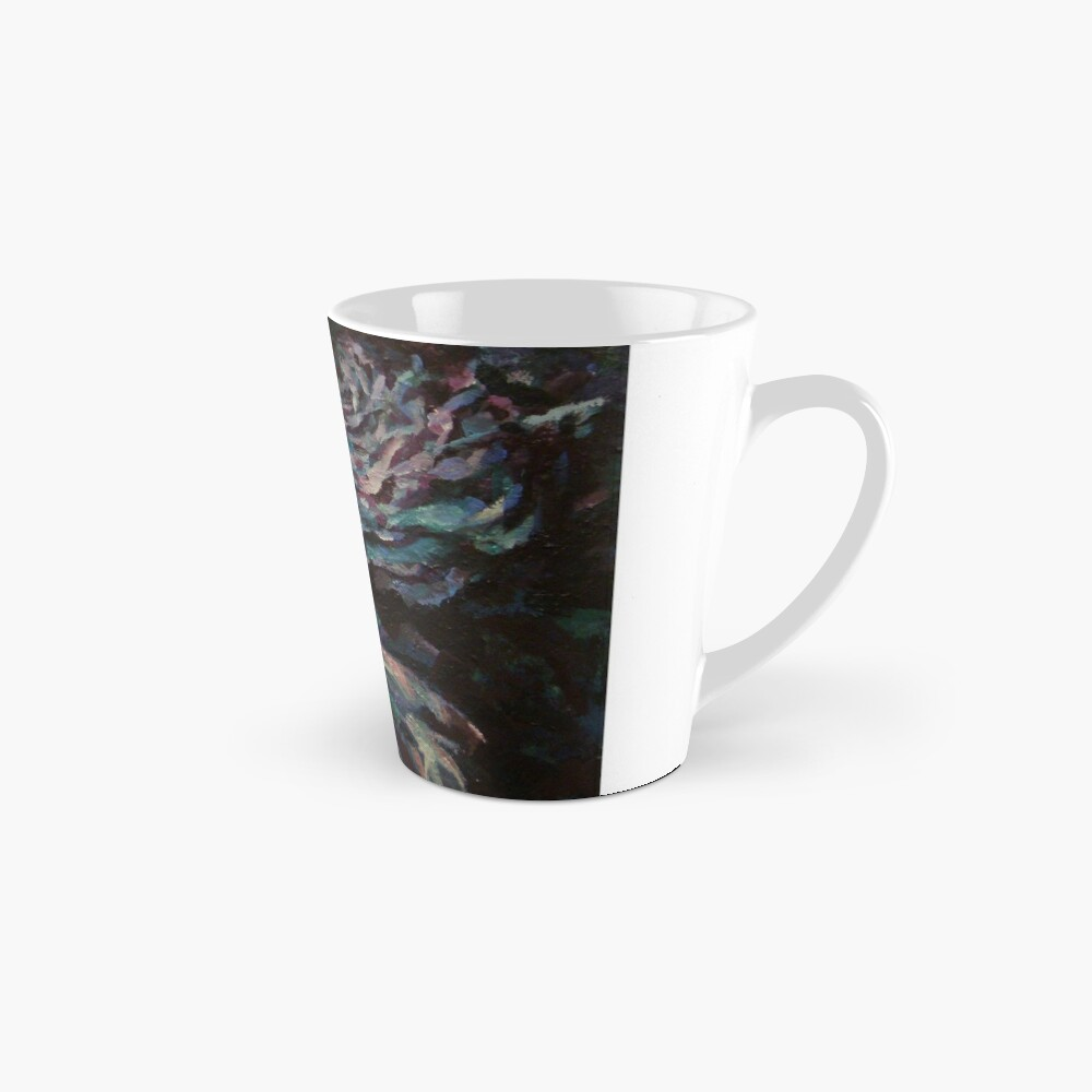 Three blue roses on square background Tall Mug