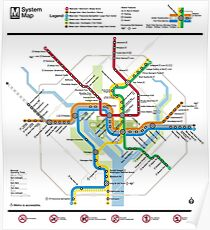 Washington Metro-Karte - Vereinigte Staaten von Amerika Poster