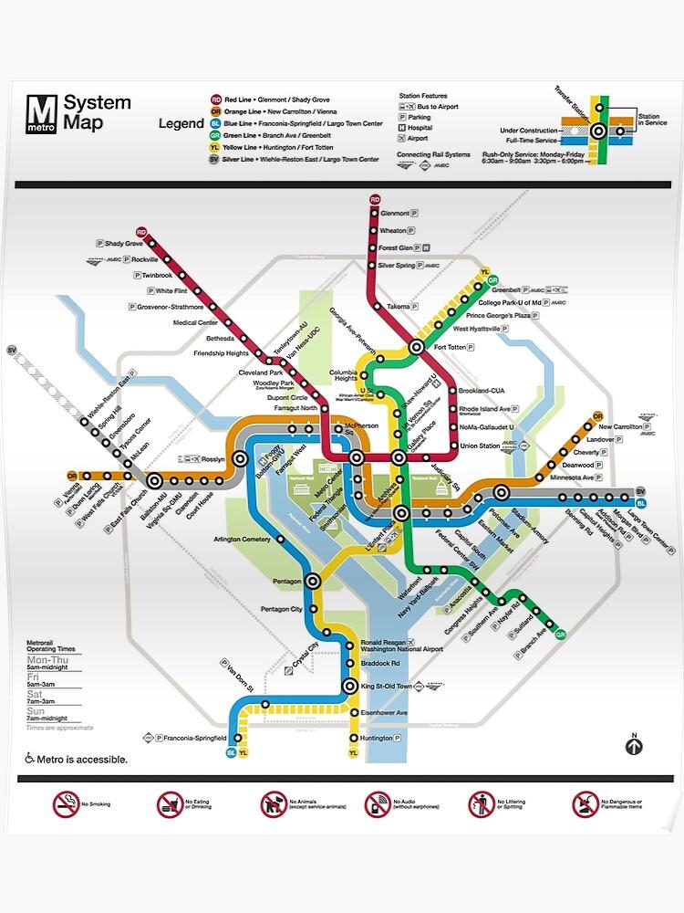 Dc Subway Map Pillow.Washington Metro Map United States Poster