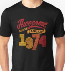 Awesome Since January 1974 Shirt Vintage 44th Birthday Unisex T-Shirt