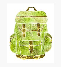 Watercolor Backpack Khaki Photographic Print