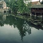 Bridge with water baffle and House beside L'Eure Chartres France 19840825 0043  by Fred Mitchell
