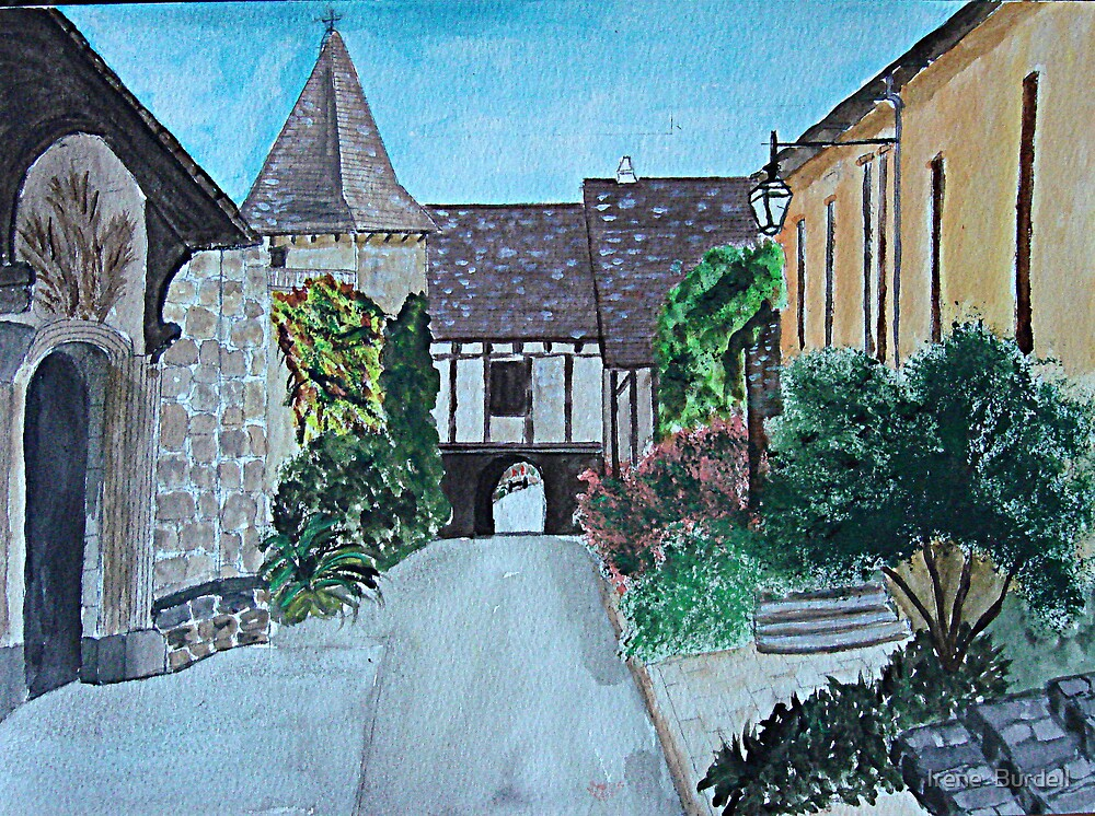 Acrylic painting ,   Loubressac , France  by Irene  Burdell