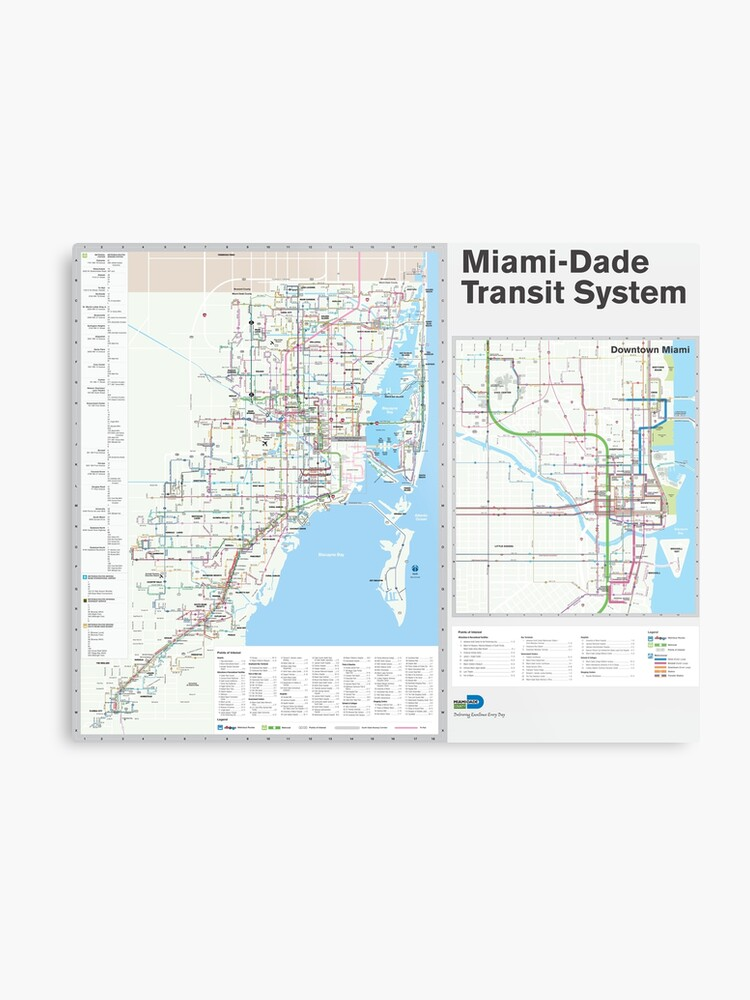 Miami Metro And Bus Map United States Metal Print By Superfunky - Us-map-miami