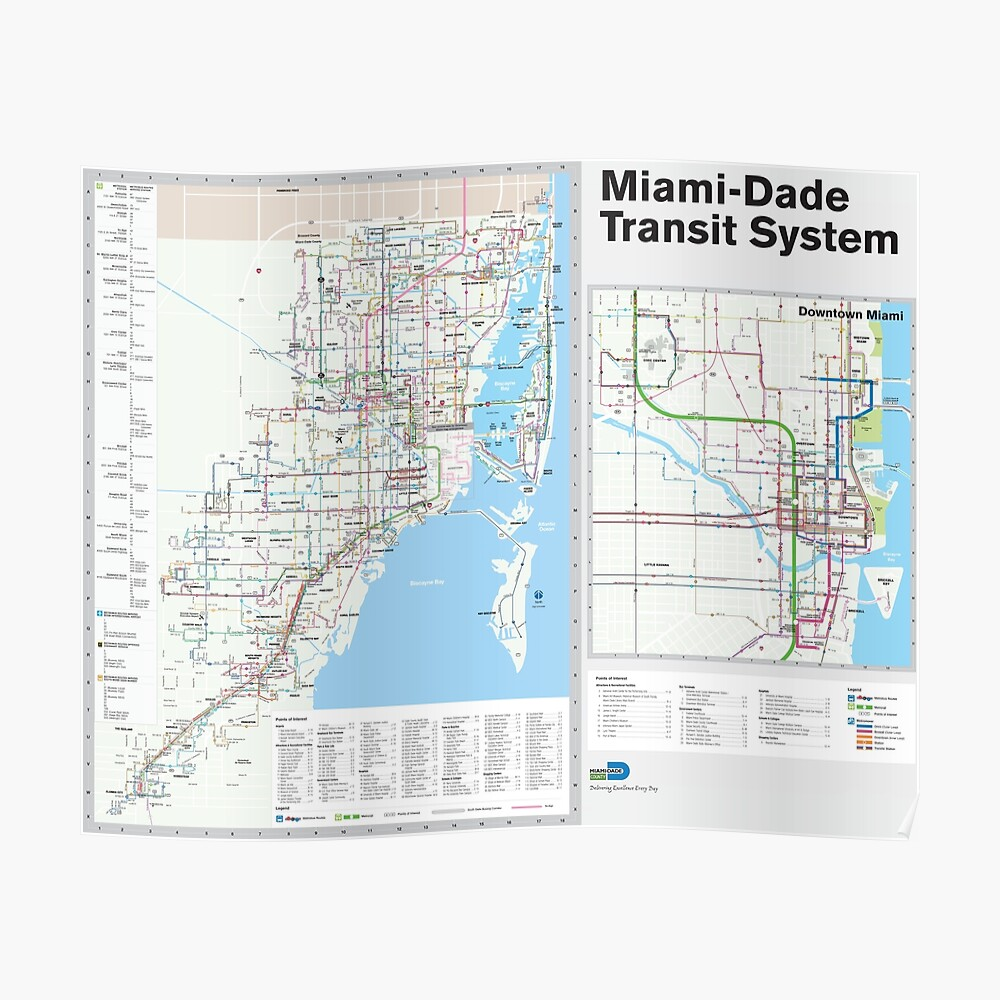 Miami Metro And Bus Map United States Poster By Superfunky - Us-map-miami