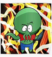 Kid Cthulhu, young elder god. With Hellfire Background  Poster