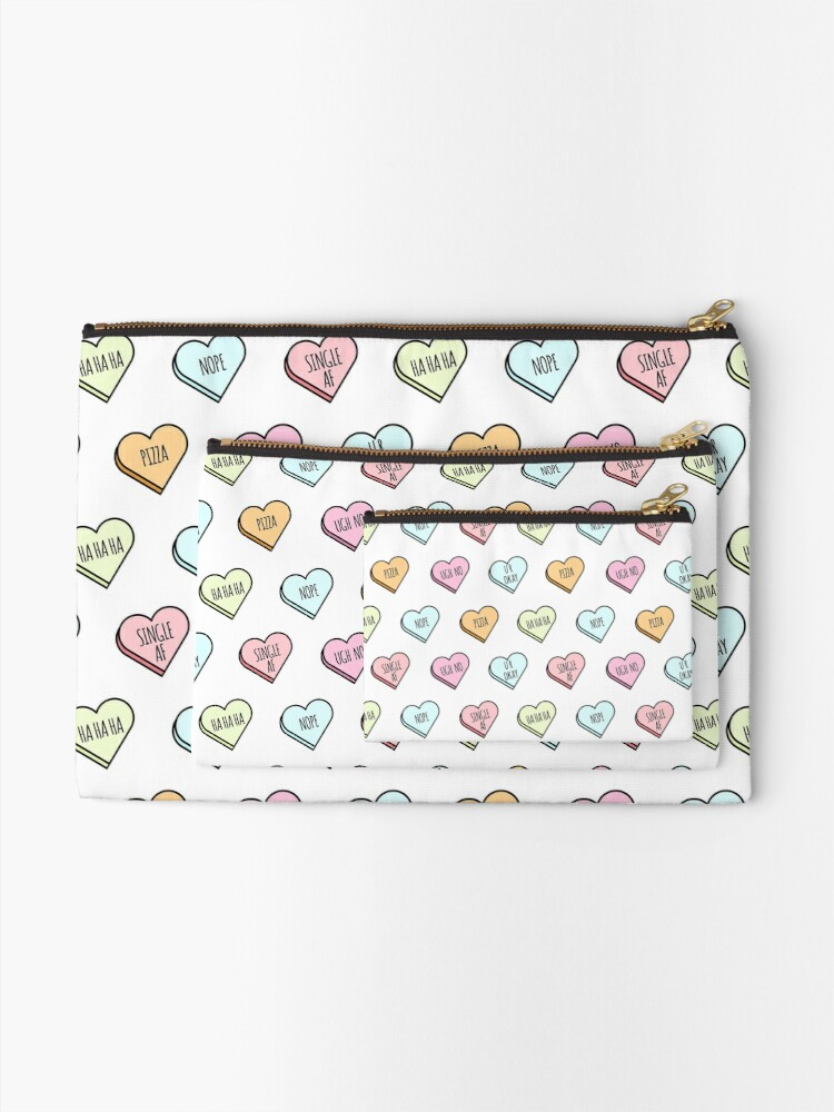 Alternate view of Sassy & Sarcastic Candy Heart Pattern Zipper Pouch