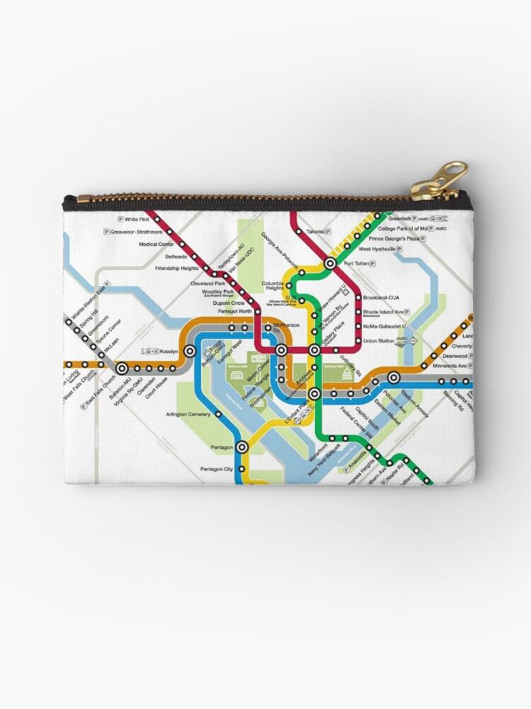 Washington State Subway Map.Washington Metro Map United States Zipper Pouch By Superfunky