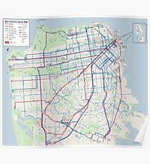 San Francisco Transit Map - United States Poster