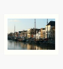 A winter scene at the harbour of Zwolle Art Print