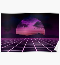 Retro 80's sunset Poster