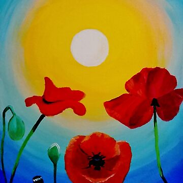 Poppies In Sunshine by IvysCraftShop