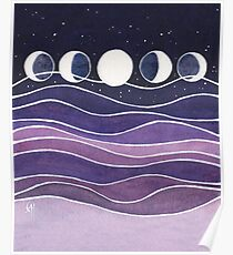 Purple Mountains and Moon Poster