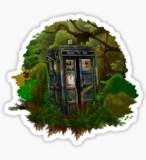 haunted public phone in the forest Sticker