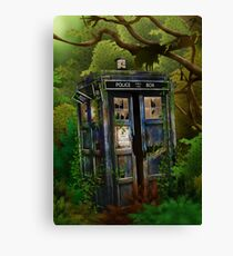 haunted public phone in the forest Canvas Print
