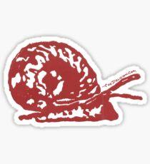 Red Ramshorn Snail Block Print Sticker