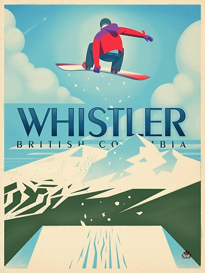 """""""Snowboard Booter"""" Whistler, BC Travel Poster by James Tuer"""