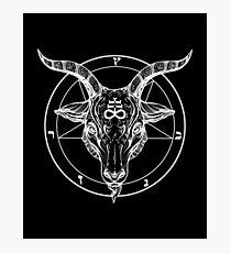 Baphomet-Ziegen-Kopf mit Pentagram-okkulten Symbolismus- oder Satanist-Symbolen Fotodruck