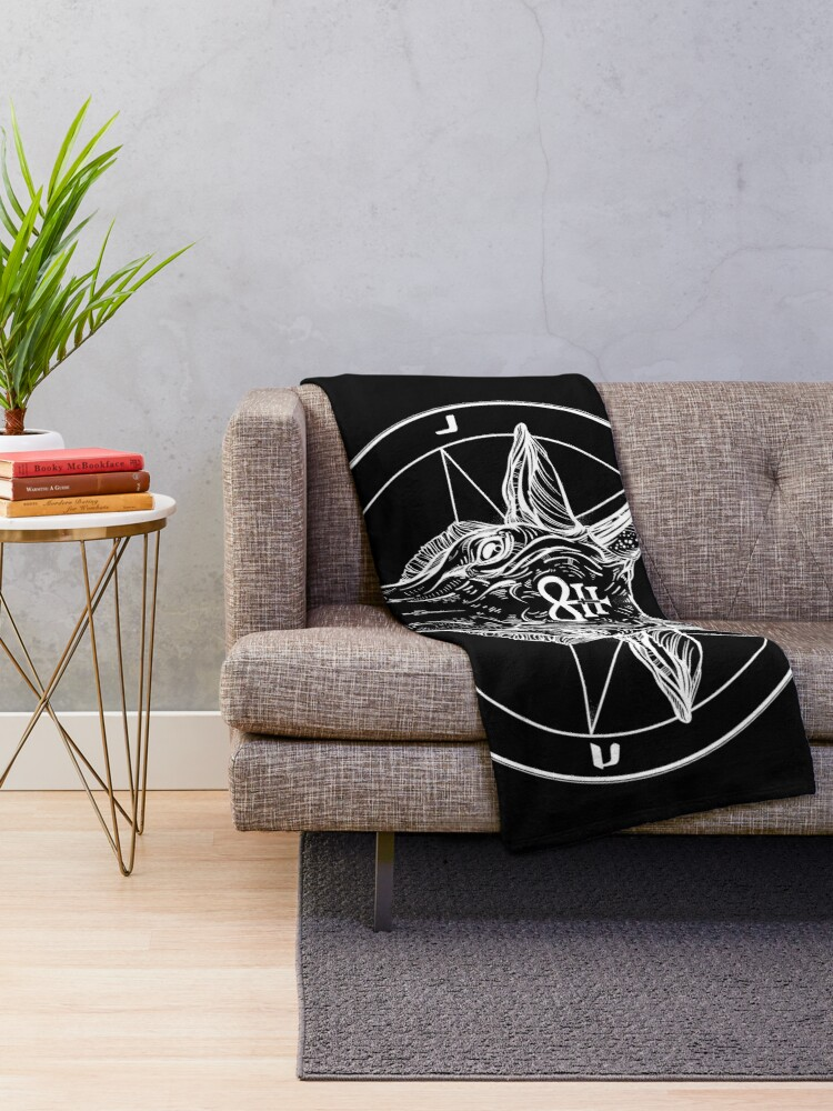 Alternate view of Baphomet Goat Head with Pentagram Occult Symbolism or Satanist Symbols Throw Blanket