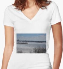 Ice Fishing Hamilton Harbour  Women's Fitted V-Neck T-Shirt