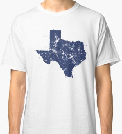 Distressed State Map Silhouette of Texas (Blue) Classic T-Shirt
