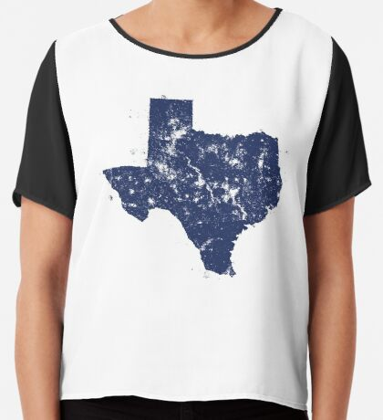 Distressed State Map Silhouette of Texas (Blue) Chiffon Top