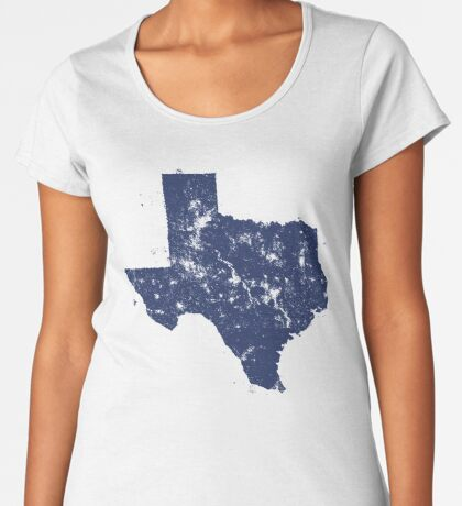 Distressed State Map Silhouette of Texas (Blue) Premium Scoop T-Shirt