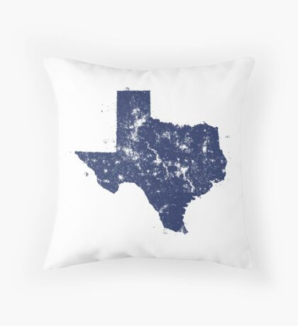 Distressed State Map Silhouette of Texas (Blue) Throw Pillow