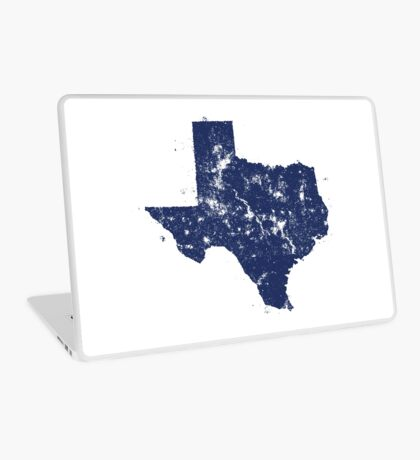 Distressed State Map Silhouette of Texas (Blue) Laptop Skin