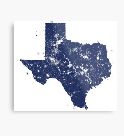Distressed State Map Silhouette of Texas (Blue) Metal Print