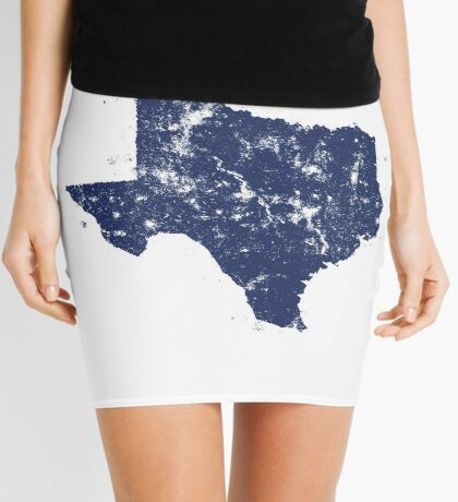 Distressed State Map Silhouette of Texas (Blue) Mini Skirt
