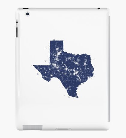 Distressed State Map Silhouette of Texas (Blue) iPad Case/Skin