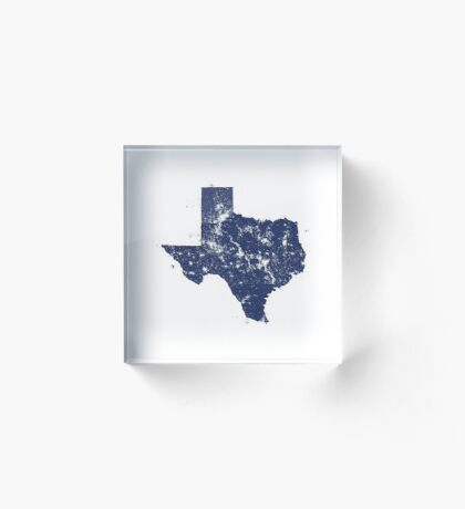 Distressed State Map Silhouette of Texas (Blue) Acrylic Block