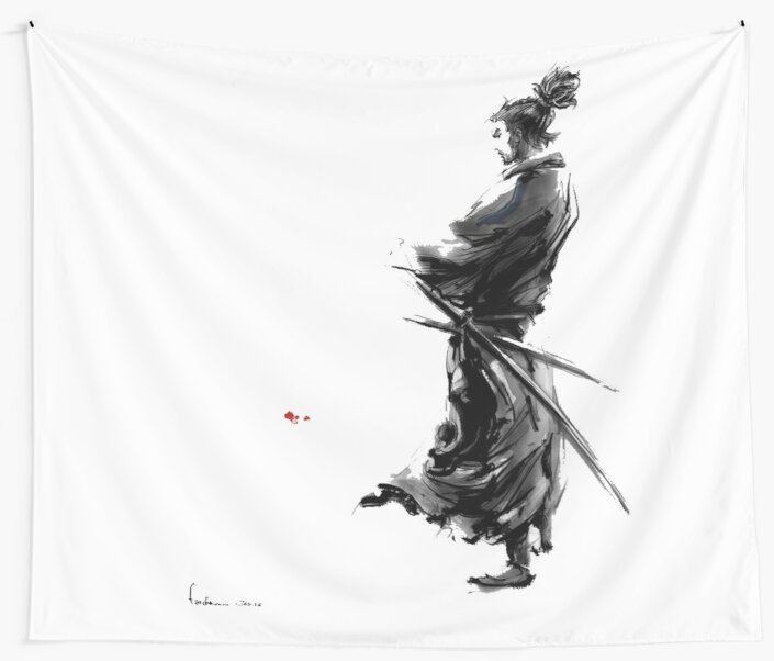 """""""Miyamoto Musashi (Vagabond)"""" Wall Tapestries By"""