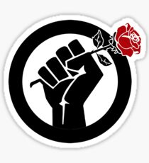 Democratic Socialist Fist With Red Rose Sticker