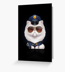 Persian Cat Dressed as a Police Officer Greeting Card